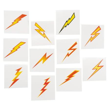 Fun Express - Lightning Bolt Tattoos (6dz) - Apparel Accessories - Temporary Tattoos - Regular Tattoos - 72 - Lightning Bolt Tattoo