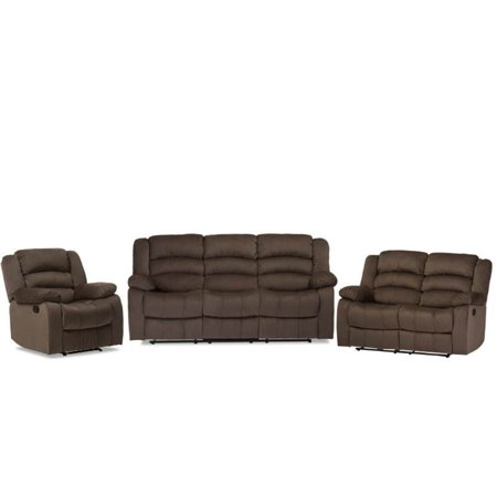 3 Piece Recliner Sofa Set with Recliner Sofa, Recliner Loveseat, and Recliner Chair in Taupe ()