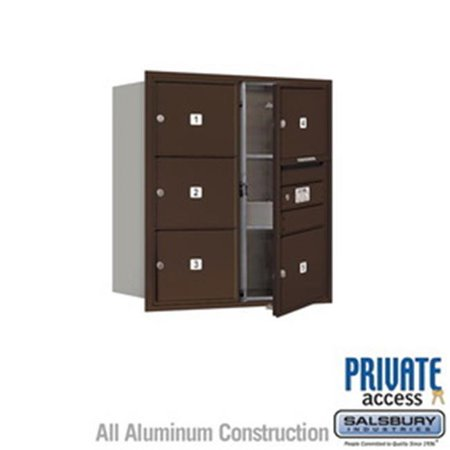 Salsbury Industries 3704S-1PZRU 4 Door High Unit 16.5 in. Single Column 4C Horizontal Mailbox with Rear Loading USPS 1 PL4 - Stand Alone Parcel Locker, Bronze
