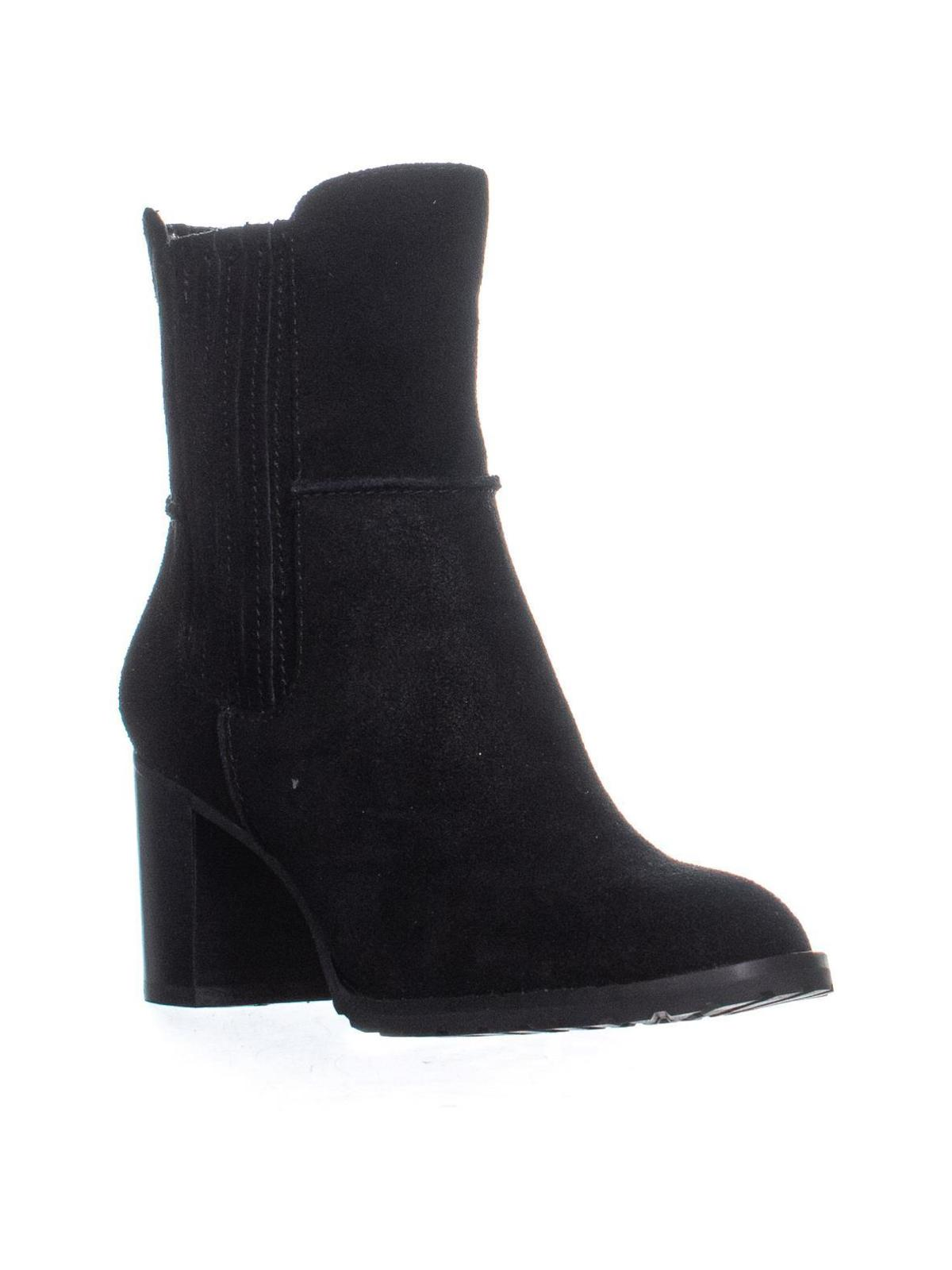 mod black suede booties black ankle boots Charles David button ankle boots