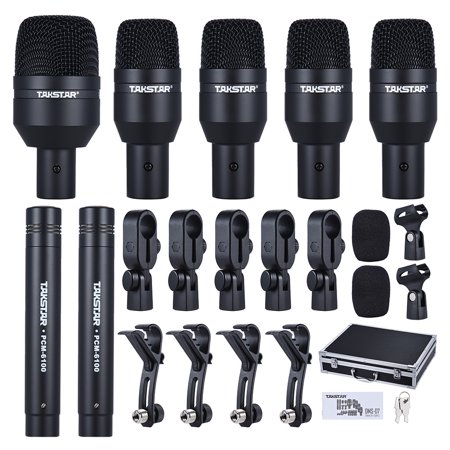 - TAKSTAR DMS-D7 Professional Musical Instruments Drum Set Wired Microphone Mic Kit with Standard Mounting Accessories Aluminum Carrying Case