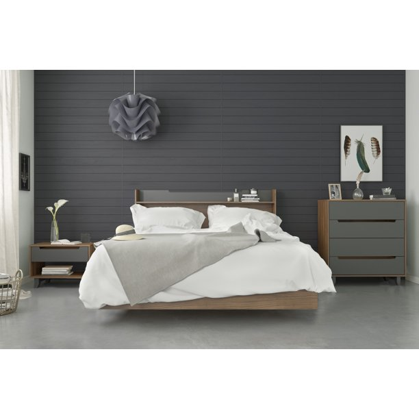 Nexera Neptune 4 Piece Bedroom Set, Walnut & Charcoal