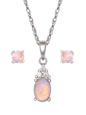 "Sterling Silver Cubic Zirconia and Created Opal Teardrop Pendant and Earring Set, 18"" Chain"
