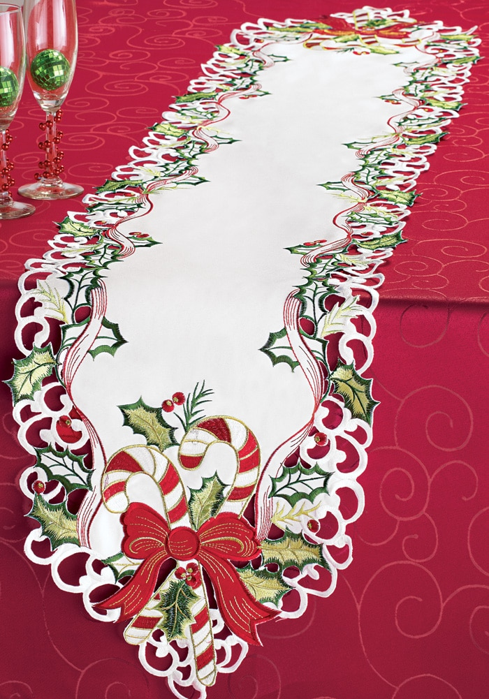 Candy Cane Christmas Table Linens, Square by Collections Etc