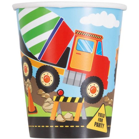 9oz Paper Construction Party Cups, 8ct