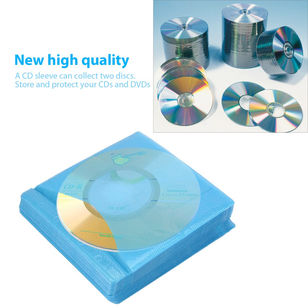 100Pcs CD DVD Double Sided Cover Storage Case PP Bag Sleeve Envelope Provide Storage &... by LESHP