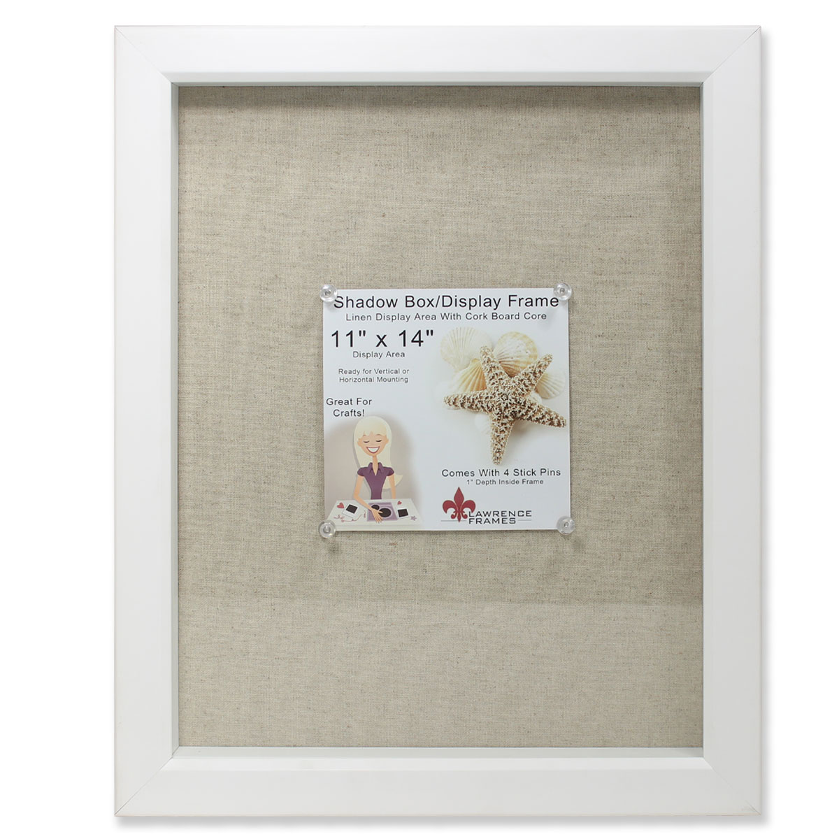 11x14 White Shadow Box Frame - Linen Inner Display Board