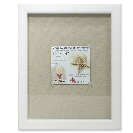 - 11x14 White Shadow Box Frame - Linen Inner Display Board