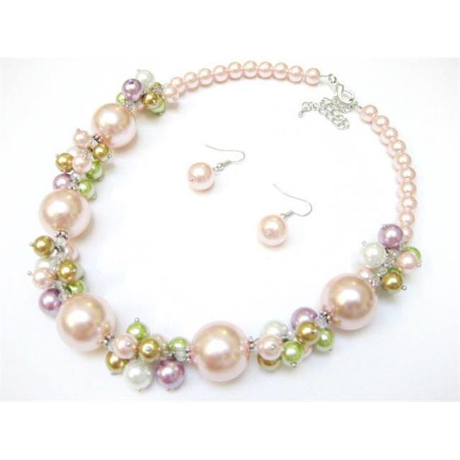 Alur Jewelry 18661PK 18 in. Big Pearl & Pearl Cluster Necklace and Earring set in Pink