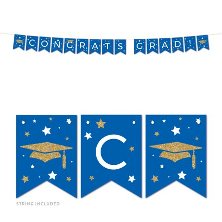 Congrats Grad Banner (Royal Blue and Gold Glittering Graduation, Hanging Pennant Party Banner with String, Congrats Grad!, 5-Feet, 1)