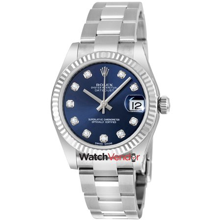 Rolex Lady Datejust Diamond Dial Steel & 18K White Gold Oyster Watch