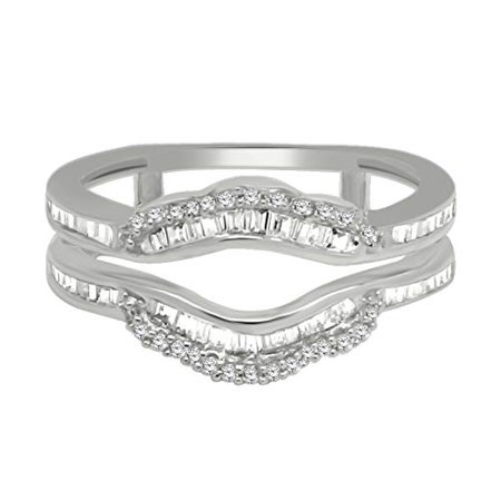 - 0.47 Carat (ctw) 10K Gold Round and Baguette Cut White Diamond Anniversary Wedding Band Enhancer Guard Double Ring Sz-8