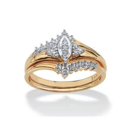 1/10 TCW Round Diamond 10k Yellow Gold Bridal Engagement Wedding Marquise-Shaped Ring