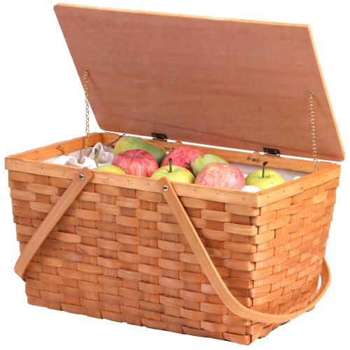 Vintiquewise Large Woodchip Picnic Basket With White Lining And Wooden Lid