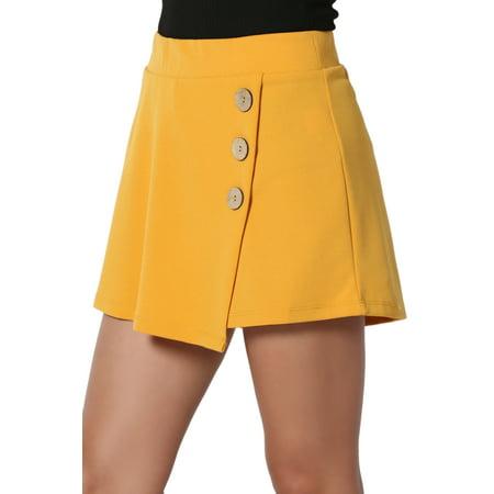 TheMogan Junior's Button Detail Wrap Skirt Overlay High Waist Stretch Short Skort