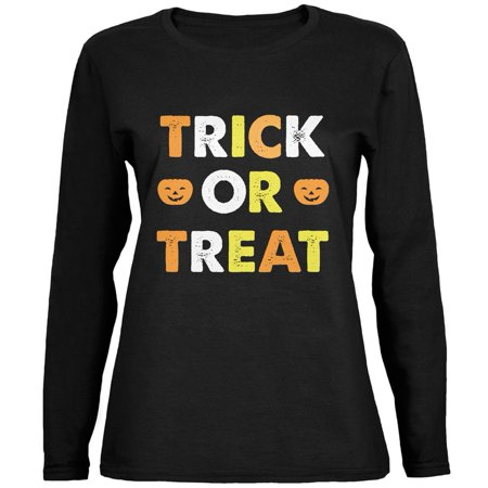 Halloween Trick Or Treat Black Womens Long Sleeve - Cartoon Halloween Trick Or Treating