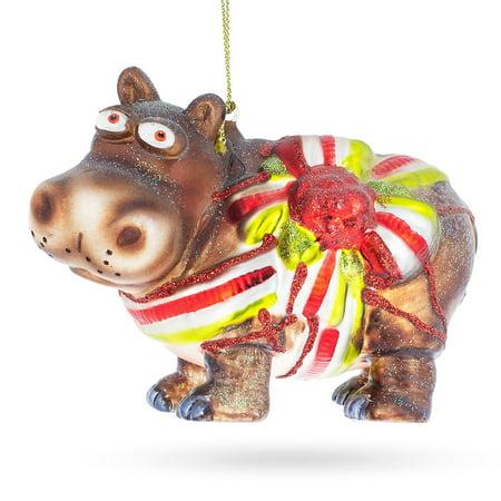 Hippo Gift Blown Glass Christmas Ornament ()