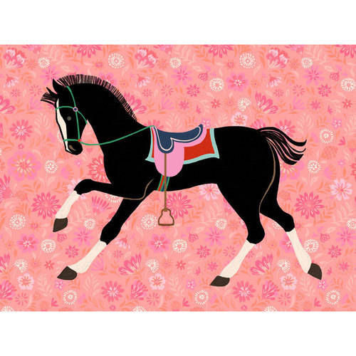 Oopsy Daisy - Floral Filly - Black Canvas Wall Art 24x18, Pim Pimlada