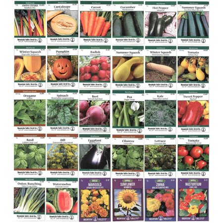 Heirloom Seed Assortment – Collection of 30 Non-GMO, Easy Grow, Gardening Seeds: Vegetable, Fruit, Herb & Flower – Open Pollinated – Radish, Pumpkin, Dill, Eggplant,