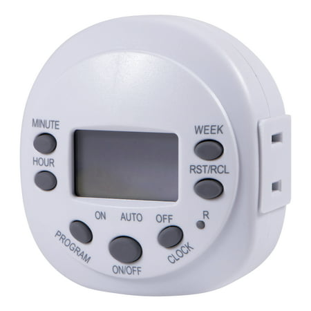 GE 7-Day Indoor Plug-In Programmable Digital Timer, 1-Outlet, White, - Electrical Plug Timer