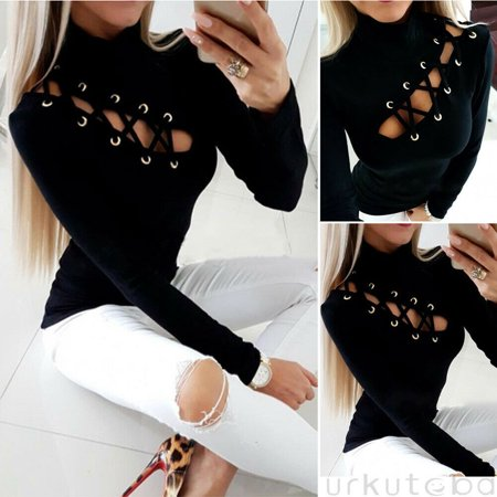 Multitrust Women's Lace-Up Eyelet Hollow Out T-Shirt Ladies Long Sleeve Slim Fit -