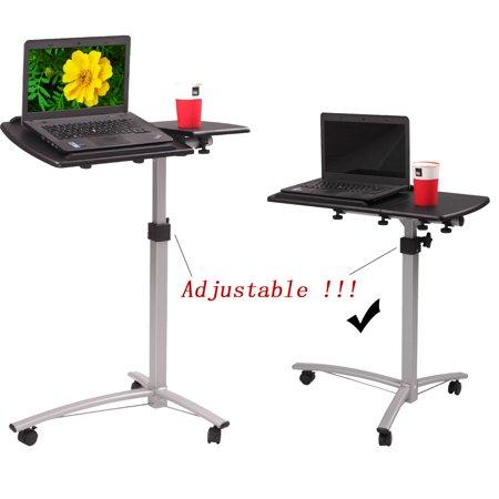 Zimtown Laptop Rolling Desk Adjustable Tilt Stand Portable Caster Cart Bed Side Table