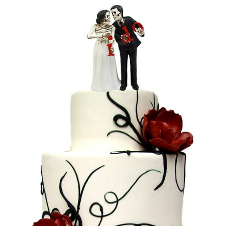 Ebros Day Of The Dead Wedding Skeleton Bride & Groom Holding I Do Sign Figurine Cake Topper 6