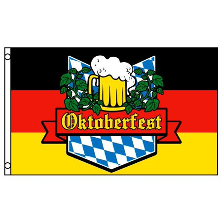 Oktoberfest Banner (3x5 German Oktoberfest Flag Beer Glass Bavaria October Event Banner)