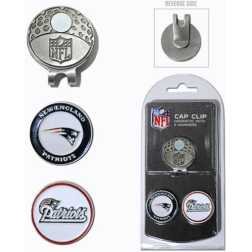 Team Golf NFL New England Patriots Cap Clip With 2 Golf Ball Markers