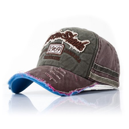 CoastaCloud - 2018 New Fashion Denim Alphabet Ponytail Baseball Cap Men  Women Messy Bun Hat Adjustable Snapback Trucker Sports Outdoor - Grey Brown  ... 269b05ffccb8