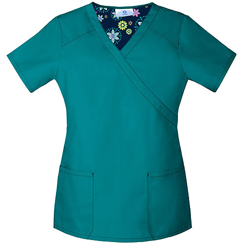 Scrubstar Deep Turquoise Mock Wrap Scrub Top