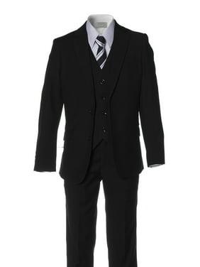 Boy Black Slim Fit Suit 2 Button 5 Piece by Fouger