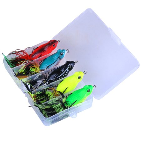 5pcs 5.5cm/13g Tassel Frog Fishing Lures, Topwater Floating Weedless Lures Frog Baits with Double Sharp Hooks