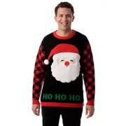 #followme Mens Ugly Christmas Sweater - Sweaters for Men (Black - Buffalo Plaid Santa, Medium)