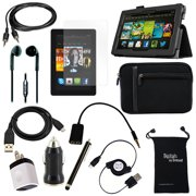 """12-Item Accessory Bundle for Amazon Kindle Fire HD 7"""" Tablet 2nd Generation - Leather Case, Sleeve Cover, Screen Protector, USB Cables + Chargers (Does not Fit 1st Gen Kindle Fire HD 7"""" or HDX 7"""" )"""