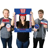 4th of July - Independence Day Party Selfie Photo Booth Picture Frame & Props - Printed on Sturdy Material