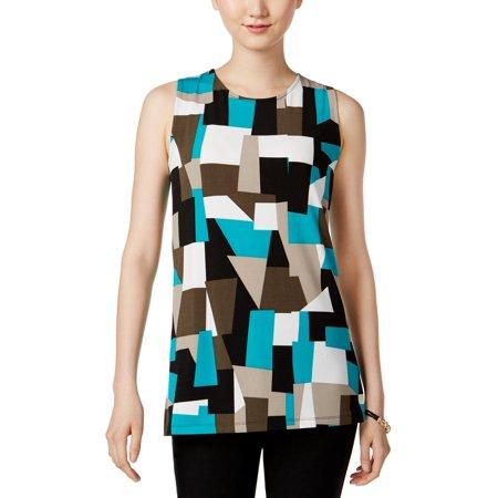 Kasper Womens Petites Jersey Printed Pullover Top