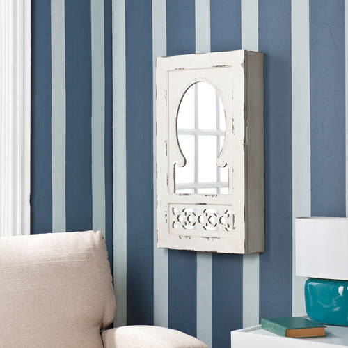 Southern Enterprises Zoey Shabby Chic Wall-Mount Jewelry Mirror