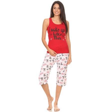 1132C Womens Capri Set Sleepwear Pajamas Woman Sleeveless Sleep Nightshirt Red M 2 Piece Capri Pajama Set