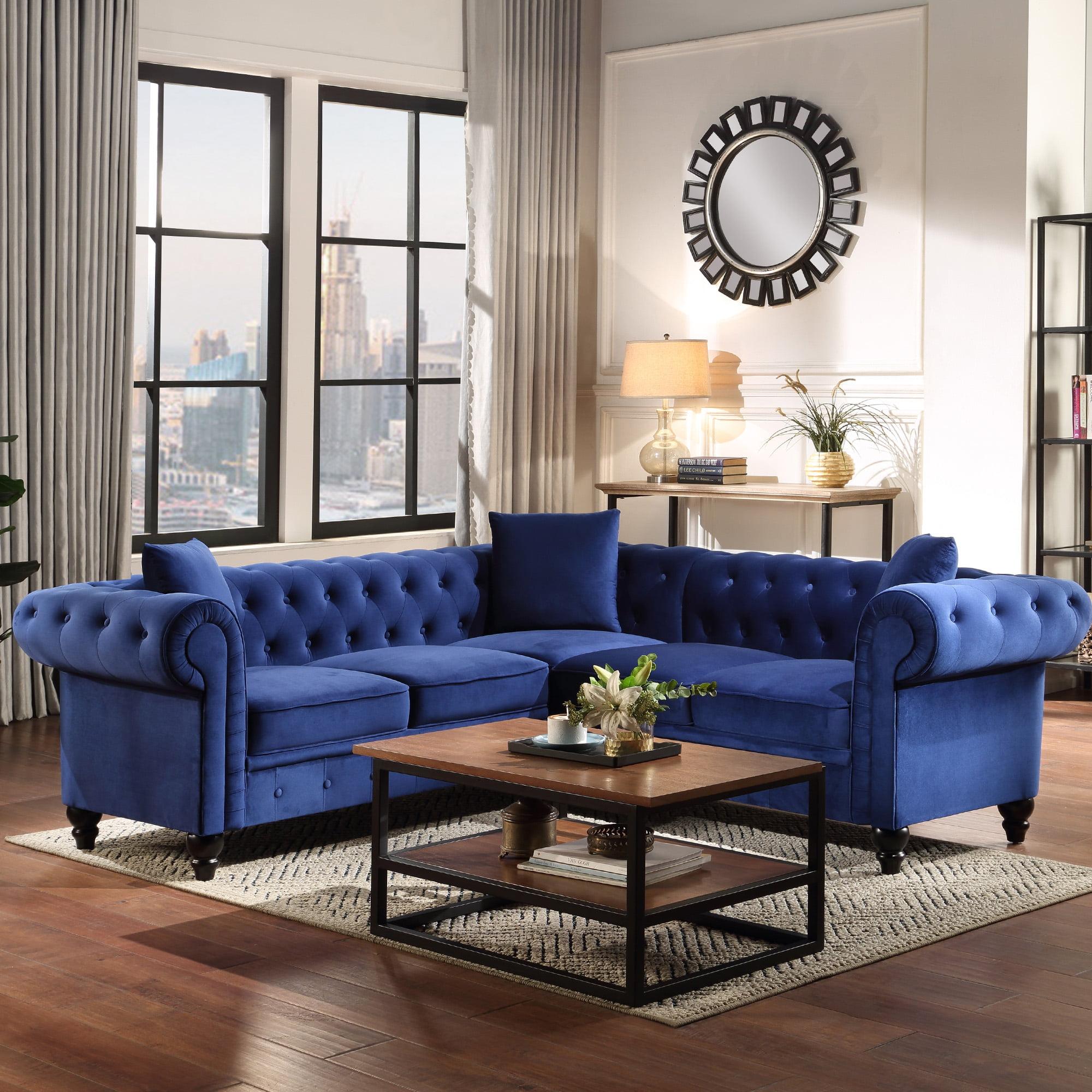 Velvet Tufted Sofa for Living Room, URHOMEPRO Mid Century ...