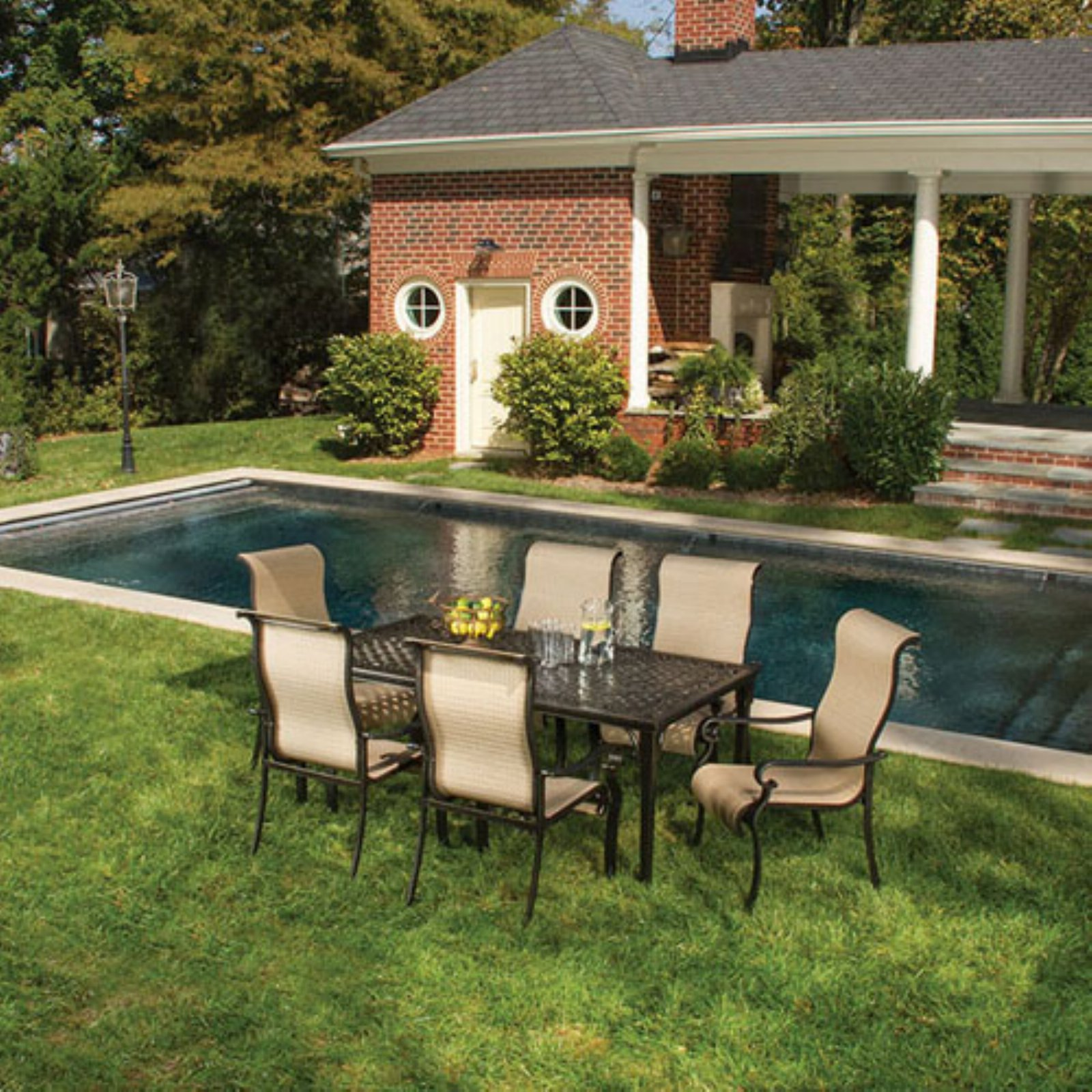 Hanover Outdoor Brigantine 7-Piece Dining Set with Glass-Top Table, Harvest Wheat/Espresso Bean
