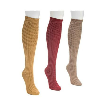 Women's Waffle Knee High Sock Pack (3 (Knee Length Waffle)
