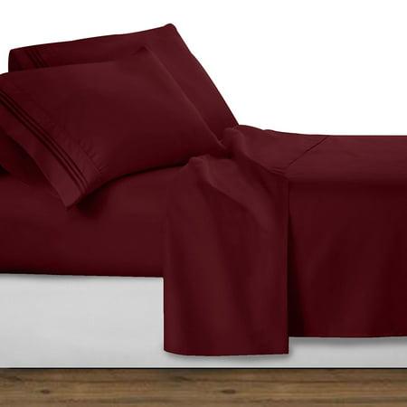 1800 Premier Series 4pc Bed Sheet Set - King, Burgundy Red, King Size 4pc Set - Flat Sheet 105