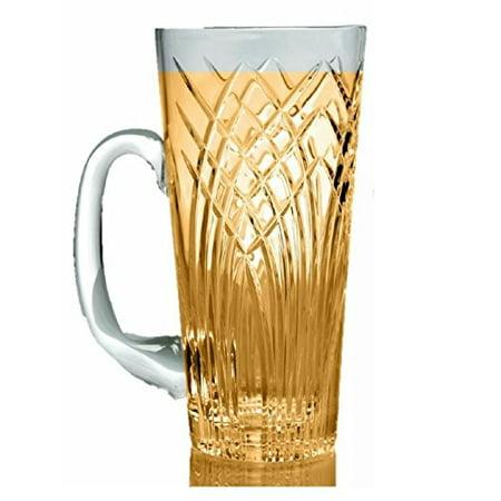 GAC Crystal Glass Beer Mug with Handle, 16oz Glass Beer Stein Stunning Hand Cut Design Beer Glass