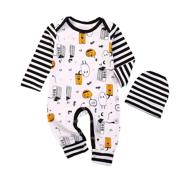 Transer Baby Girls Boys Halloween Pumpkin Clothes Set Infant Romper Hats 2pcs Outfits Walmart Com Walmart Com