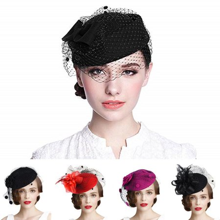 Womens Pillbox Flower Derby Hat Vintage Bow Fascinator Hats for Cocktail Ball Wedding Church Tea party (Peacock Fascinator)