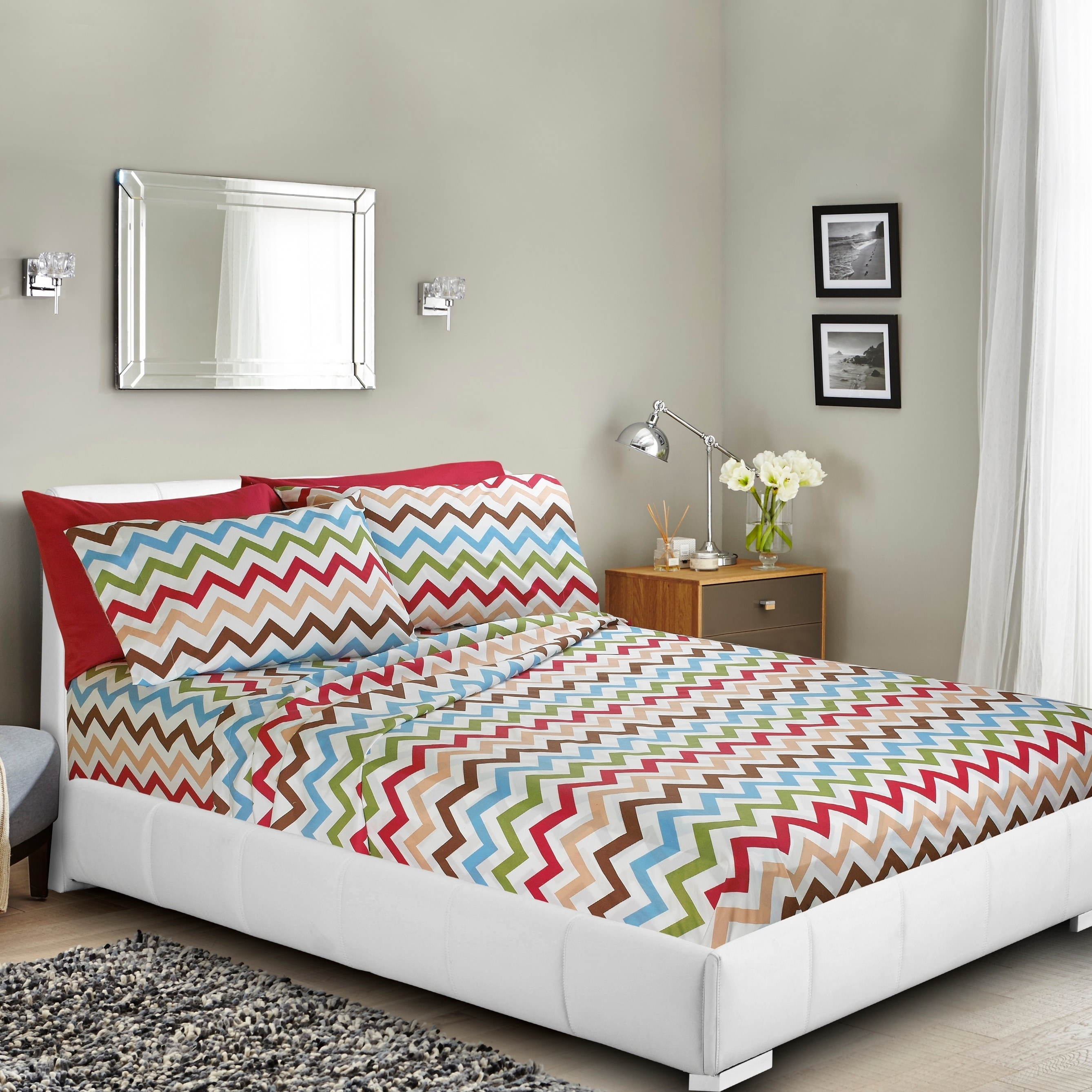 Clara Clark Printed Bed Sheet Set, Deep pocket fitted sheets, double set of pillowcases - By