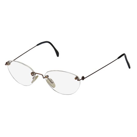 New Ice 3 Mens/Womens Designer Rimless Brown Classic Shape Frameless Rare Elegant Frame Demo Lenses 51-18-140 Eyeglasses/Eye Glasses (Schwarze Designer Glasses Frames)