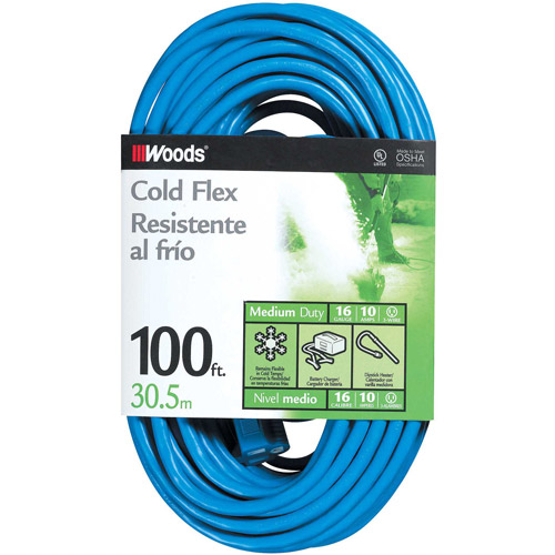 Woods 16/3 Outdoor Cold-Flexible SJTW Extension Cord, Blue, 100-Foot