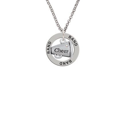 Cheer Megaphone with AB Crystal - 2 Sided Band Affirmation Ring Necklace